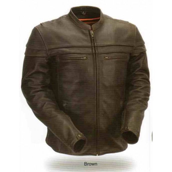 Men's Sporty Scooter Jacket--Brown Color - Discount Leather Mart