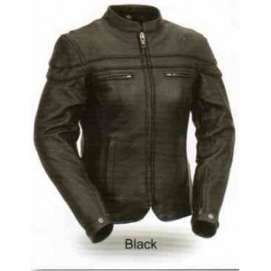 Women's Black Sporty Scooter Leather Jacket