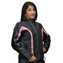 Ladies Crystal Leather Jacket in Pink