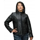 Ladies Crystal  Leather Jacket in Black