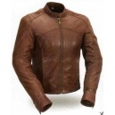 Women's Brown Leather Shape Accentuating Jacket
