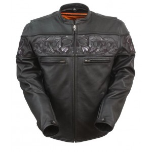 Men's Sporty Scooter Jacket with Reflective Skulls