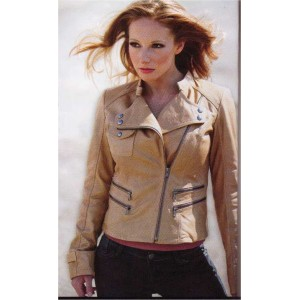Women's Naked Lambskin Motorcycle Style Jacket in Stone