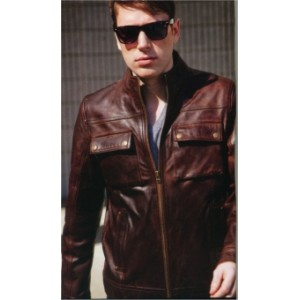 Men's Cuoma Cowhide Scooter Style Jacket in Whiskey