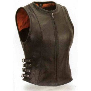 Women's Buckled Zip Front Vest