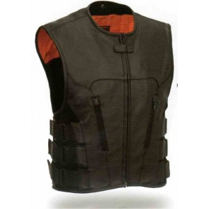 Men's Updated SWAT Team style Leather Vest