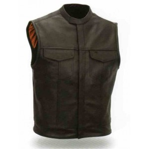 Men's Concealed Snaps Patch Holder Vest with Snap Collar