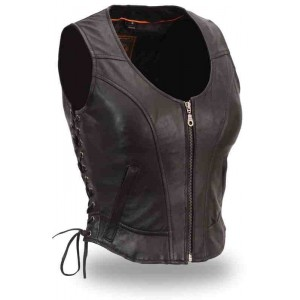 Women's Clean Side Lace Vest in Brown Leather